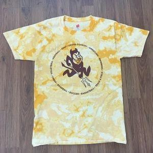 ASU SUN DEVILS Reverse Tie Dye Acid Washed T Shirt